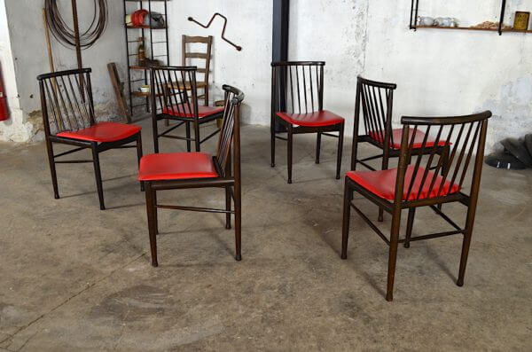 6 Chaises Laurette 1960 design vintage