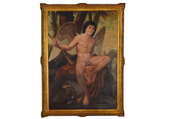 Grand tableau homme nu scène romantique – 12/0172B