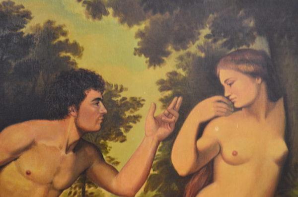 Grand tableau couple nu scène romantique