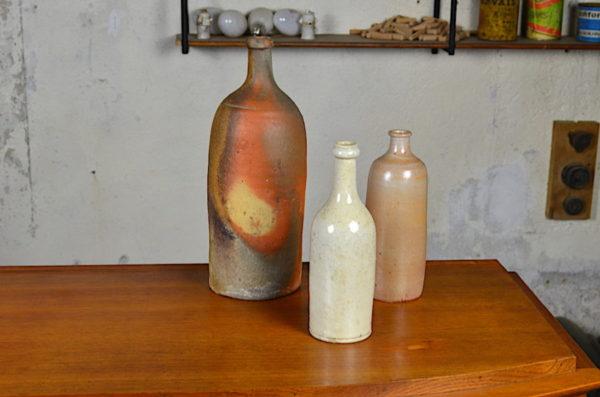 Vase bouteille déco vintage en grés