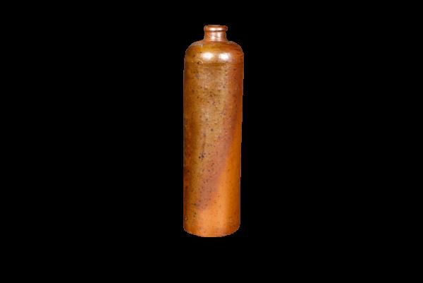 Vase bouteille déco vintage en grés brun orangé