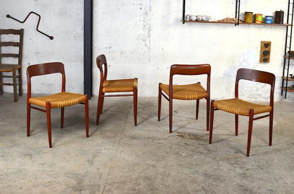 4 chaises Niels O. Moller des années 50 design scandinave