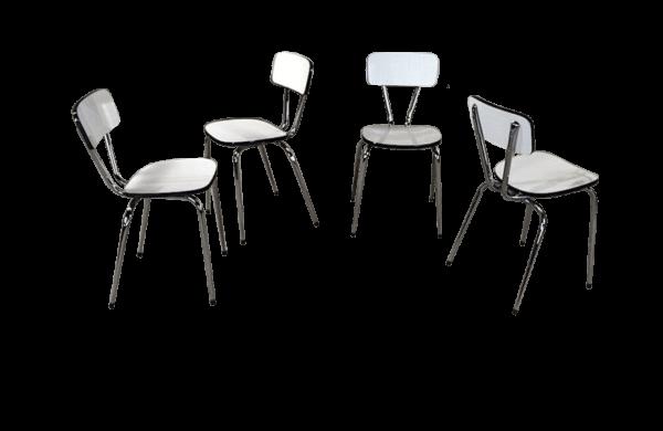 Chaises 70's formica blanche et chrome