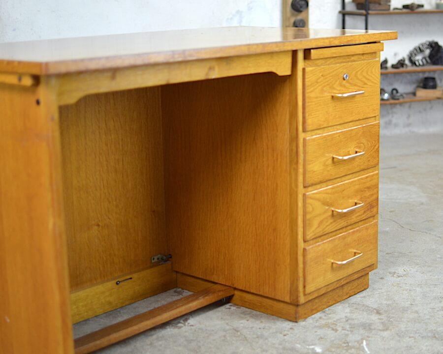 Bureau vintage edmond en chêne clair année