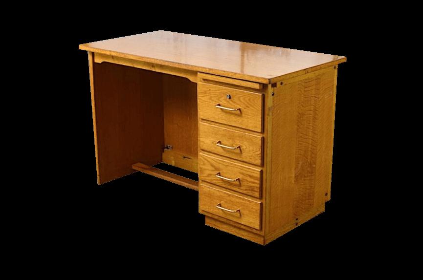 bureau vintage edmond en ch ne clair ann e 1950. Black Bedroom Furniture Sets. Home Design Ideas