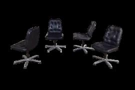 4 fauteuils cuir vintage