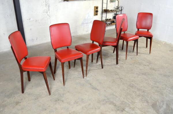 6 chaises Éliane vintage 1960