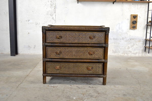 commode occasion vintage rotin 1970 1980