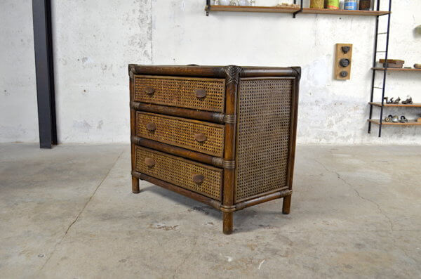 commode occasion vintage rotin 1970 / 1980