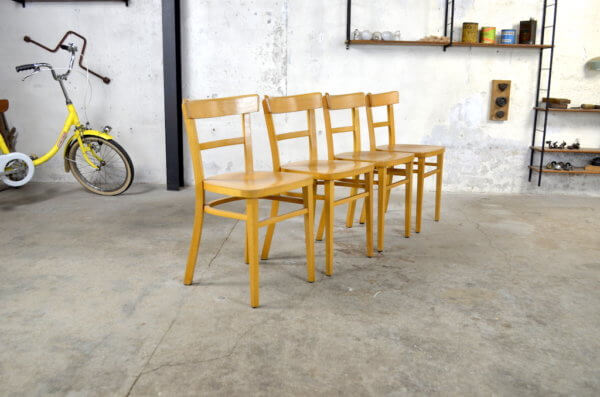 4 chaises bistrot Roselyne vintage 1960