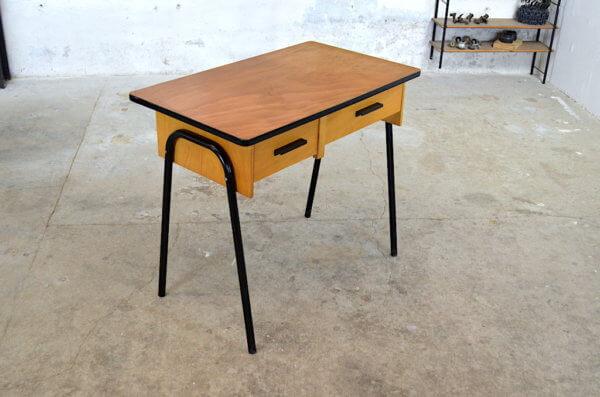 Bureau vintage Guillaume bois blond & métal 1960