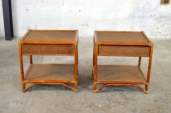 Chevets bambou et rotin vintage 1980
