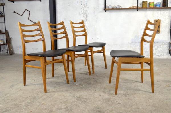 4 chaises scandinave en hêtre vintage 1960