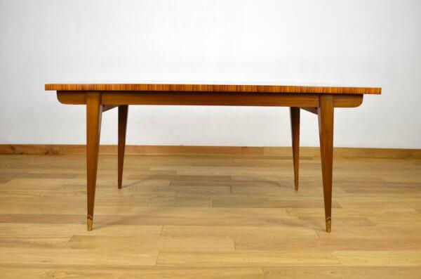 Table vintage en acajou blond & pieds compas 1960