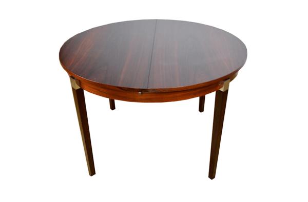 Table ronde en palissandre de rio & chrome 1960